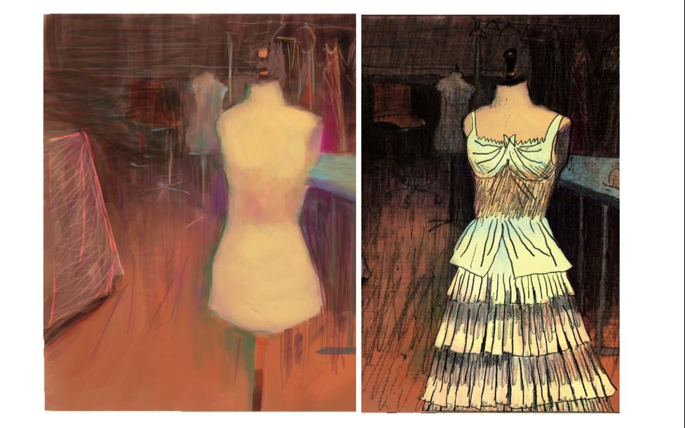 illustration pour la fabrique de la Traviata à l'opéra bastille (costume)