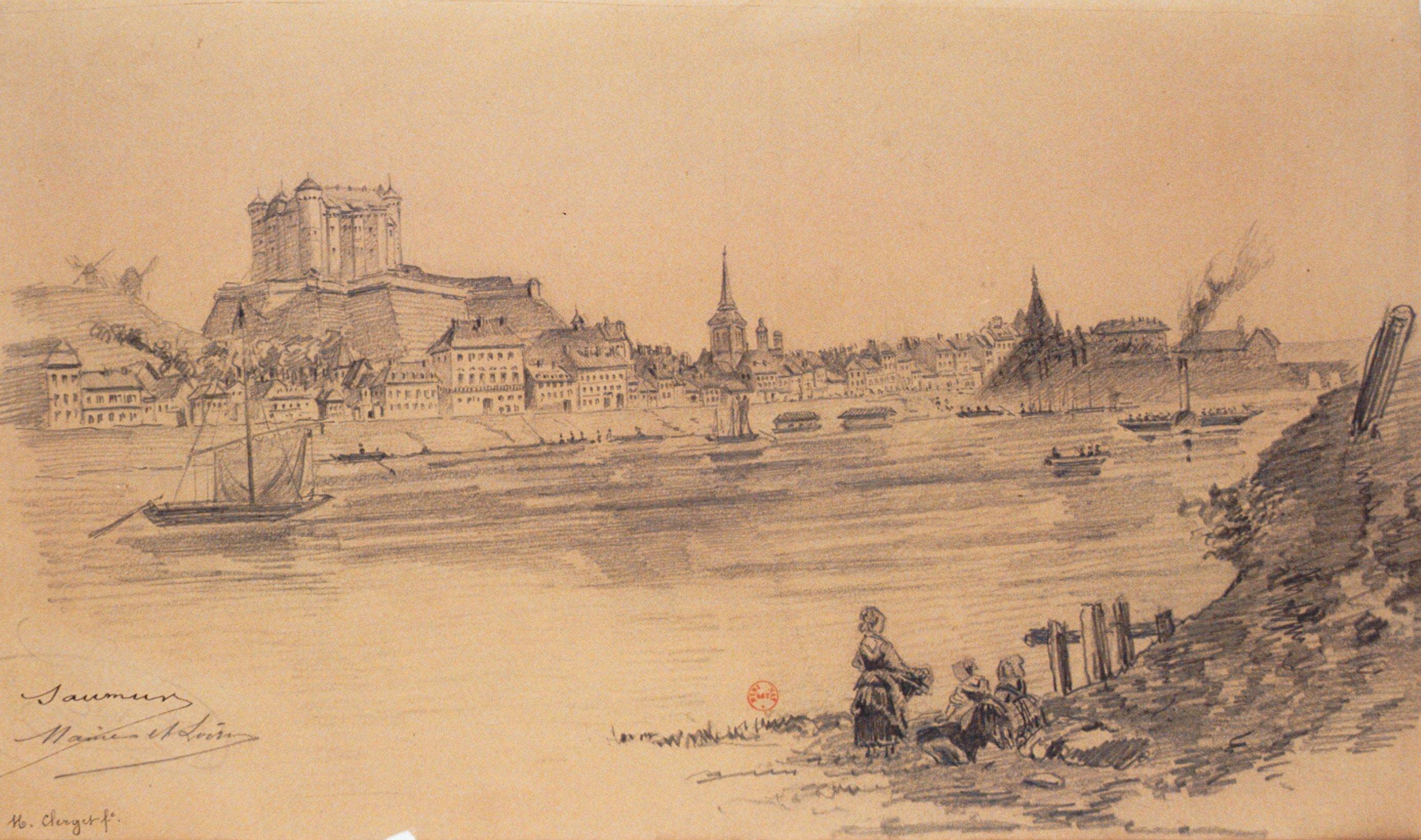 Saumur. Maine-et-Loire, dessin de Clerget, Hubert (1818-1899)