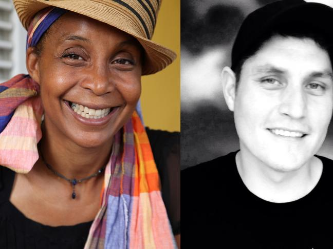 Véronique Kanor (poète martiniquaise) & Tyler Pennock (poète canadien Cree)