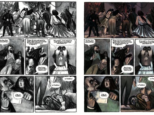 Les illustrations, une planche avant et après, Le fantôme de l'opéra, chez Gallimard