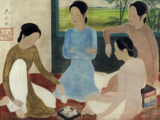Vũ Cao Đàm (1908-2000), Thiếu nữ uống trà. Jeunes femmes prenant le thé. Couleurs sur soie, 78 x 114 cm